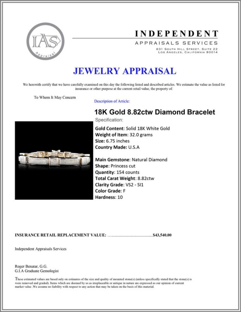 Lot 23: 18K Gold 8.82ctw Diamond Bracelet