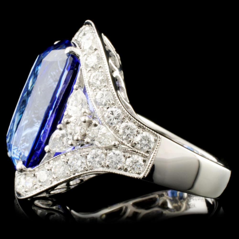 Lot 27: 18K Gold 11.28ct Tanzanite & 1.82ctw Diamond Ring