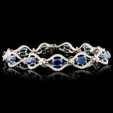 Lot 31: 18K Gold 7.10ct Sapphire & 2.54ctw Diamond Bracele