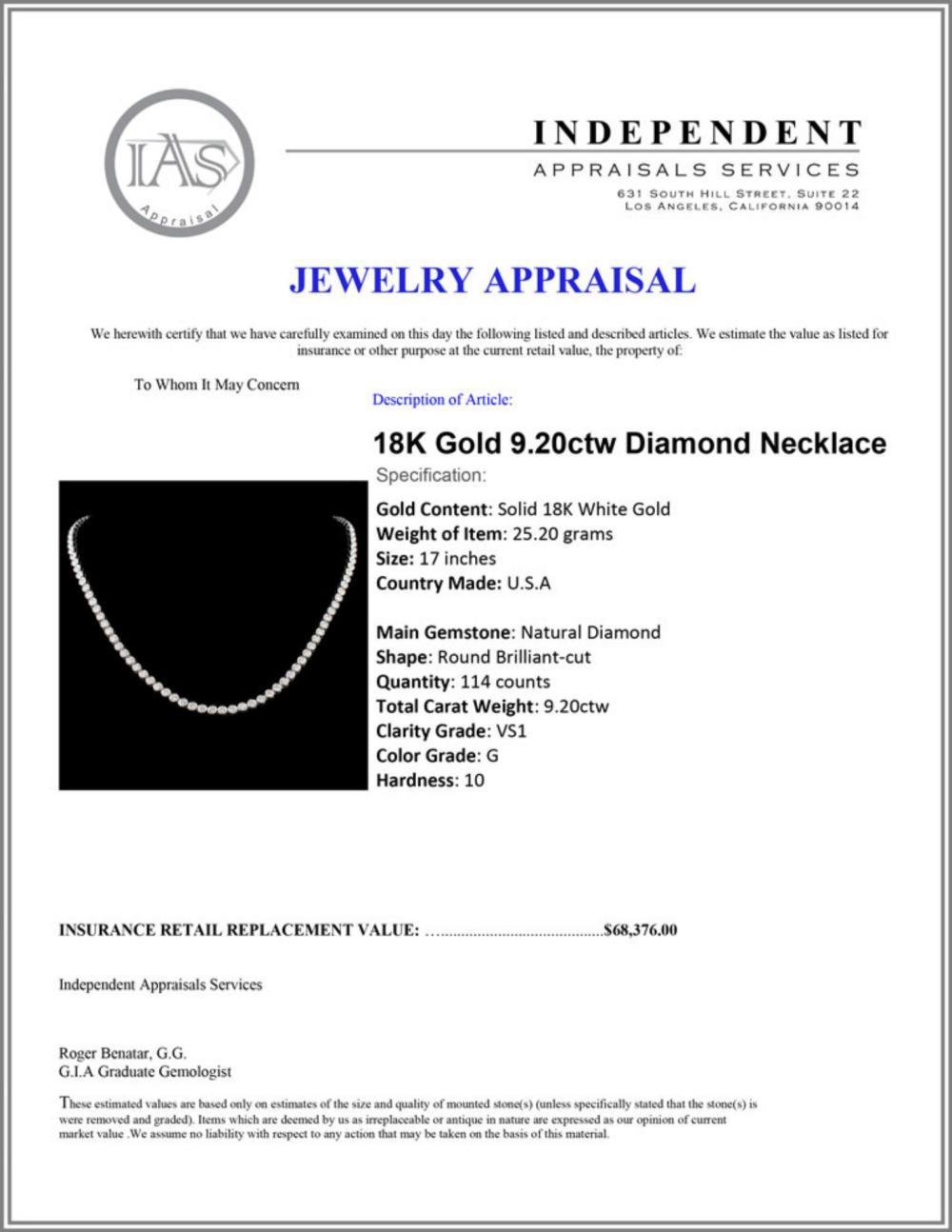Lot 33: 18K Gold 9.20ctw Diamond Necklace