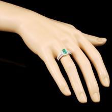 Lot 46: 18K Gold 0.88ct Emerald & 0.63ctw Diamond Ring