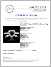 Lot 51: 18K Gold 0.67ct Sapphire & 0.34ctw Diamond Ring