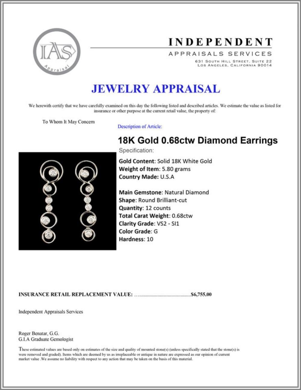 Lot 52: 18K Gold 0.68ctw Diamond Earrings