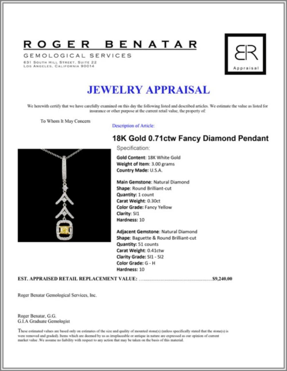 Lot 54: 18K Gold 0.71ctw Fancy Diamond Pendant