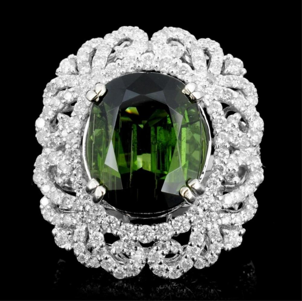 Lot 57: 18K Gold 10.19ct Tourmaline & 2.12ct Diamond Ring