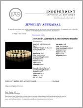 Lot 58: `14k Gold 14.00ct Opal & 0.50ct Diamond Bracelet