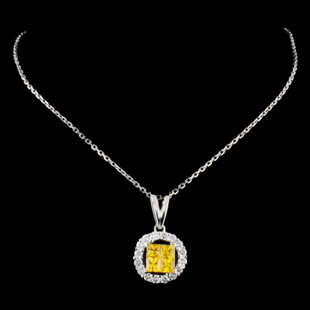 Lot 64: 18K Gold 0.75ctw Sapphire & 0.44ctw Diamond Pendan