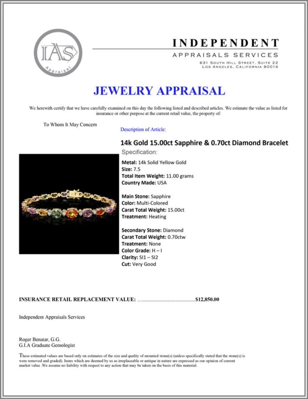 Lot 68: `14k Gold 15.00ct Sapphire & 0.70ct Diamond Bracel