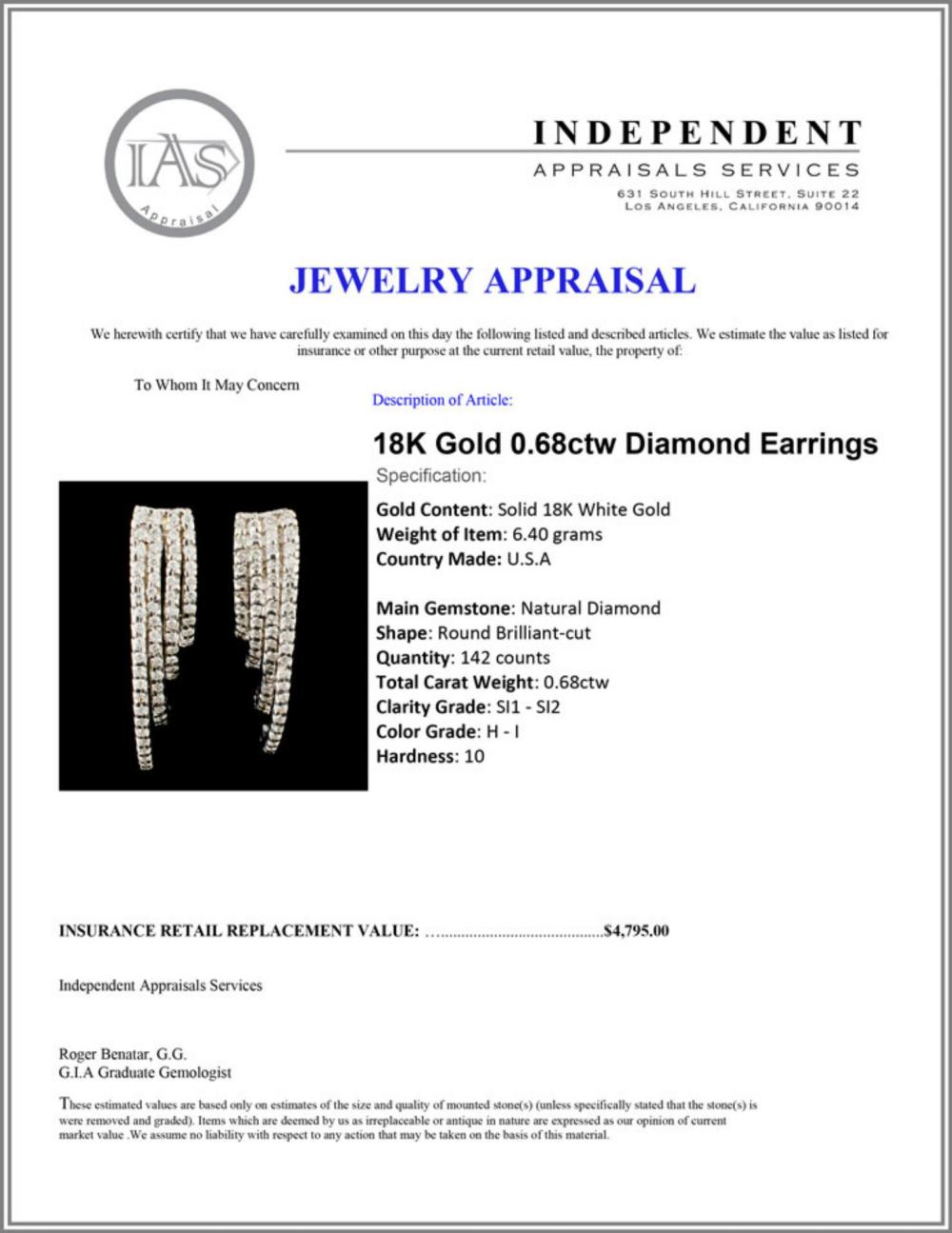 Lot 72: 18K Gold 0.68ctw Diamond Earrings