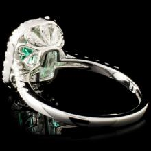 Lot 75: 18K Gold 0.79ct Emerald & 0.91ctw Diamond Ring