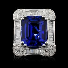 Lot 77: 18K Gold 10.71ct Tanzanite & 1.70ctw Diamond Ring