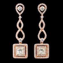Lot 80: 18K Rose Gold 2.58ctw Diamond Earrings