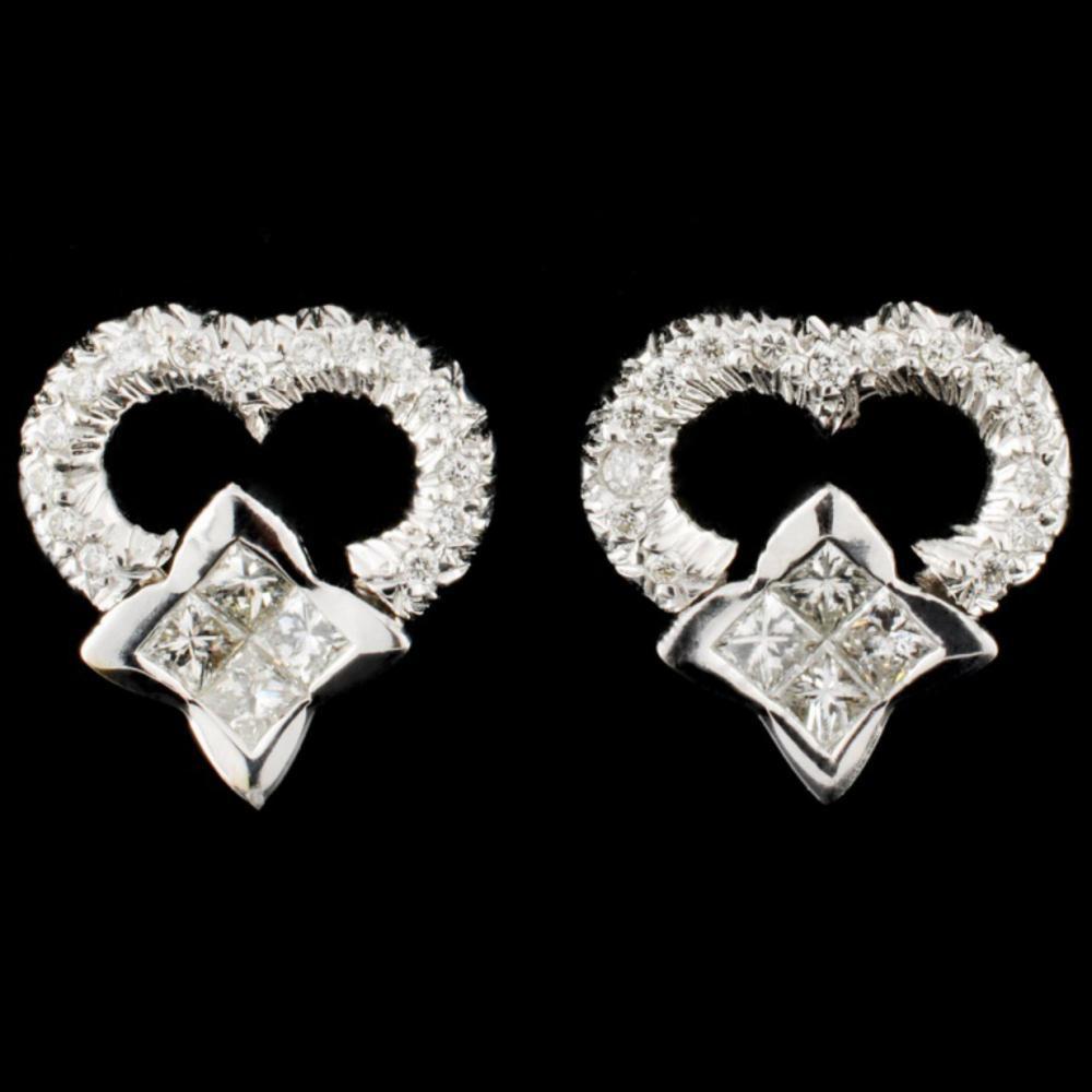 Lot 84: 18K Gold 0.81ctw Diamond Earrings