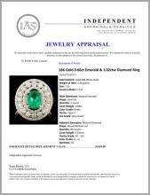 Lot 83: 18K Gold 0.66ct Emerald & 1.02ctw Diamond Ring
