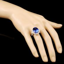 Lot 87: 18K Gold 10.72ct Tanzanite & 0.87ctw Diamond Ring