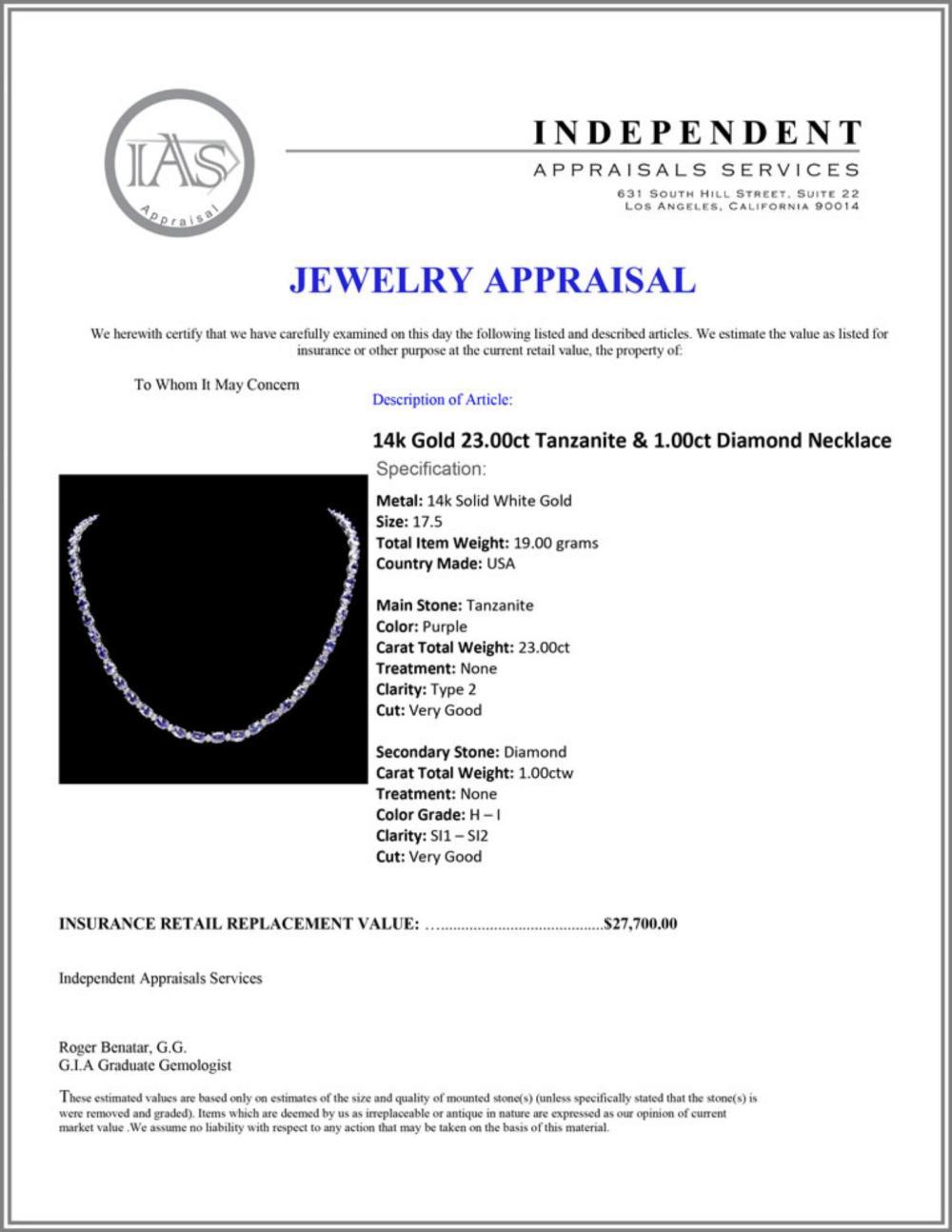 Lot 88: `14k Gold 23.00ct Tanzanite & 1.00ct Diamond Neckl