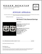 Lot 92: 18K Gold 0.71ctw Diamond Earrings