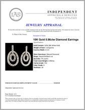 Lot 94: 18K Gold 0.96ctw Diamond Earrings