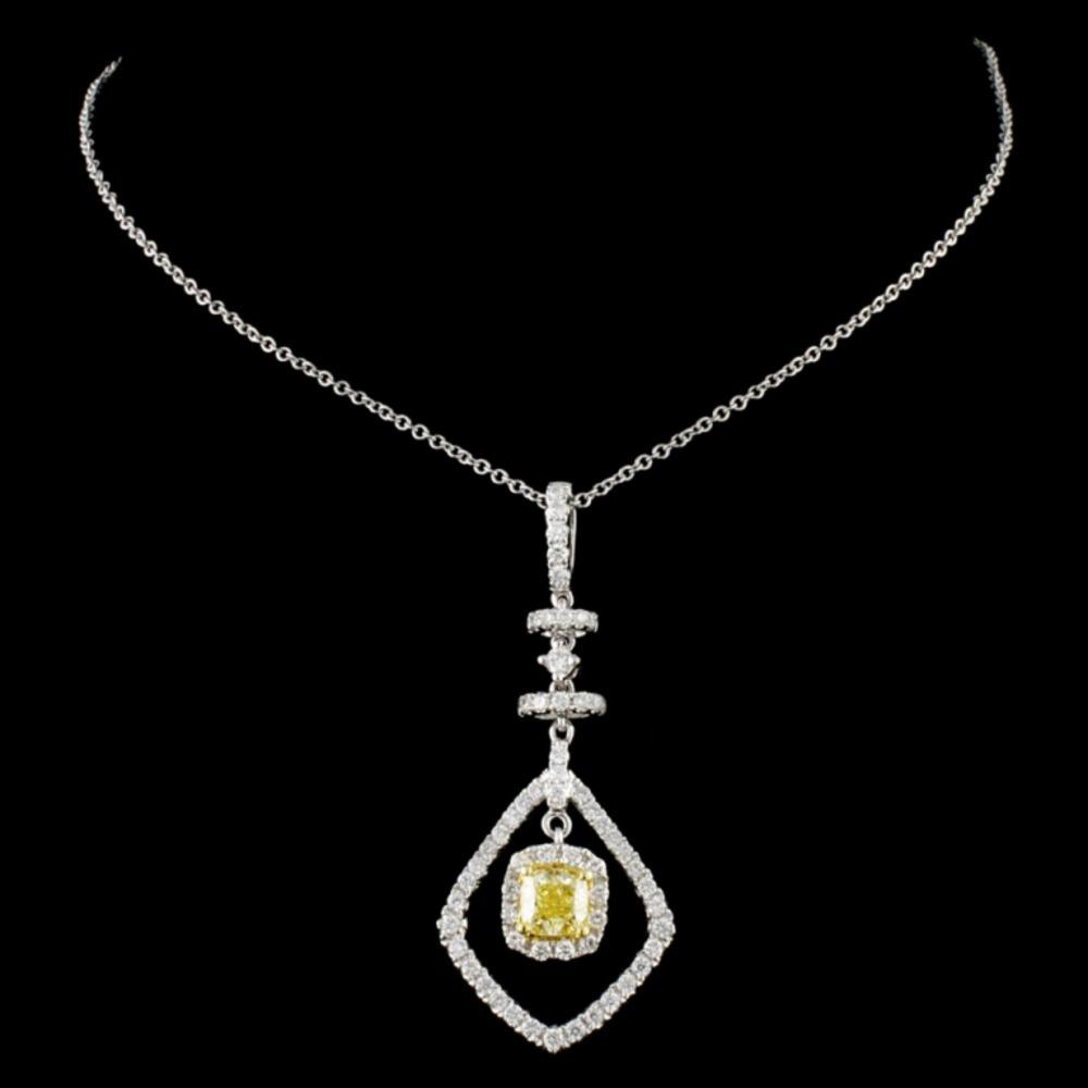 Lot 96: 18K Gold 1.03ctw Fancy Diamond Pendant