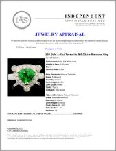 Lot 107: 18K Gold 1.93ct Tsavorite & 0.95ctw Diamond Ring