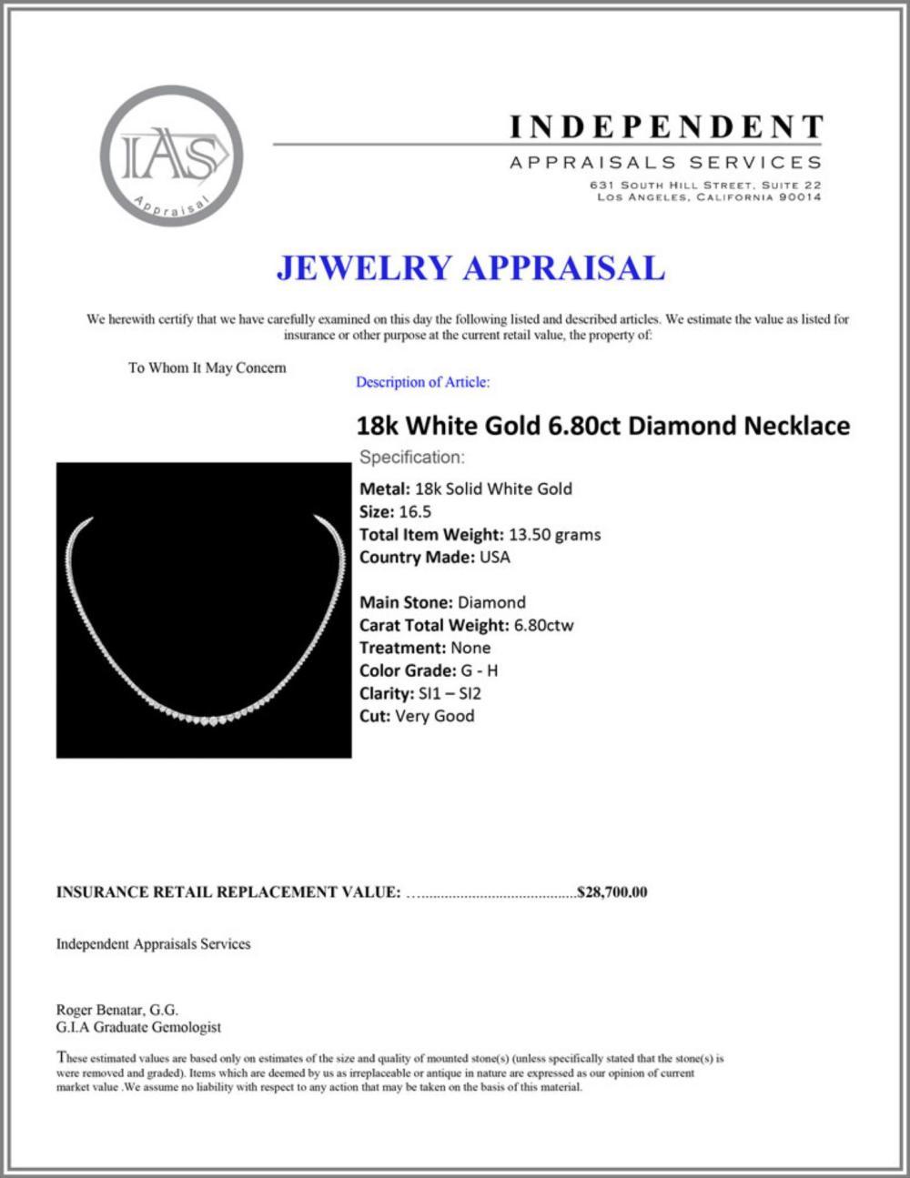 Lot 108: ^18k White Gold 6.80ct Diamond Necklace