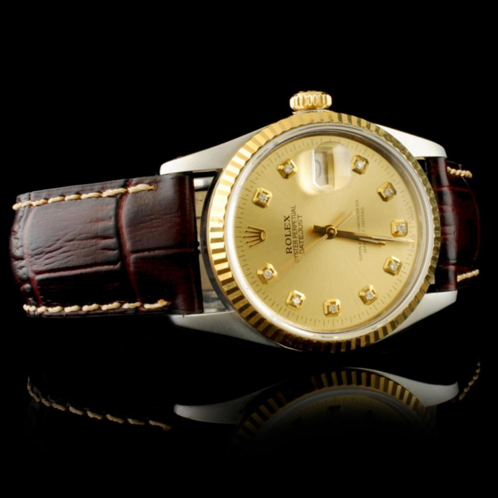 Lot 109: Rolex DateJust YG/SS Diamond Champagne 36MM Watch
