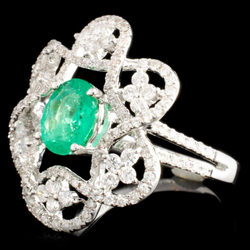 Lot 111: 18K Gold 1.03ct Emerald & 0.81ctw Diamond Ring