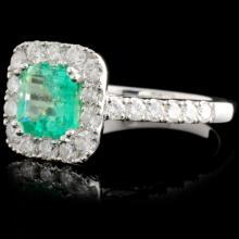 Lot 123: 18K Gold 1.14ct Emerald & 0.81ct Diamond Ring