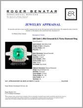 Lot 127: 18K Gold 1.99ct Emerald & 0.75ctw Diamond Ring