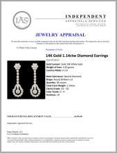 Lot 130: 14K Gold 1.14ctw Diamond Earrings