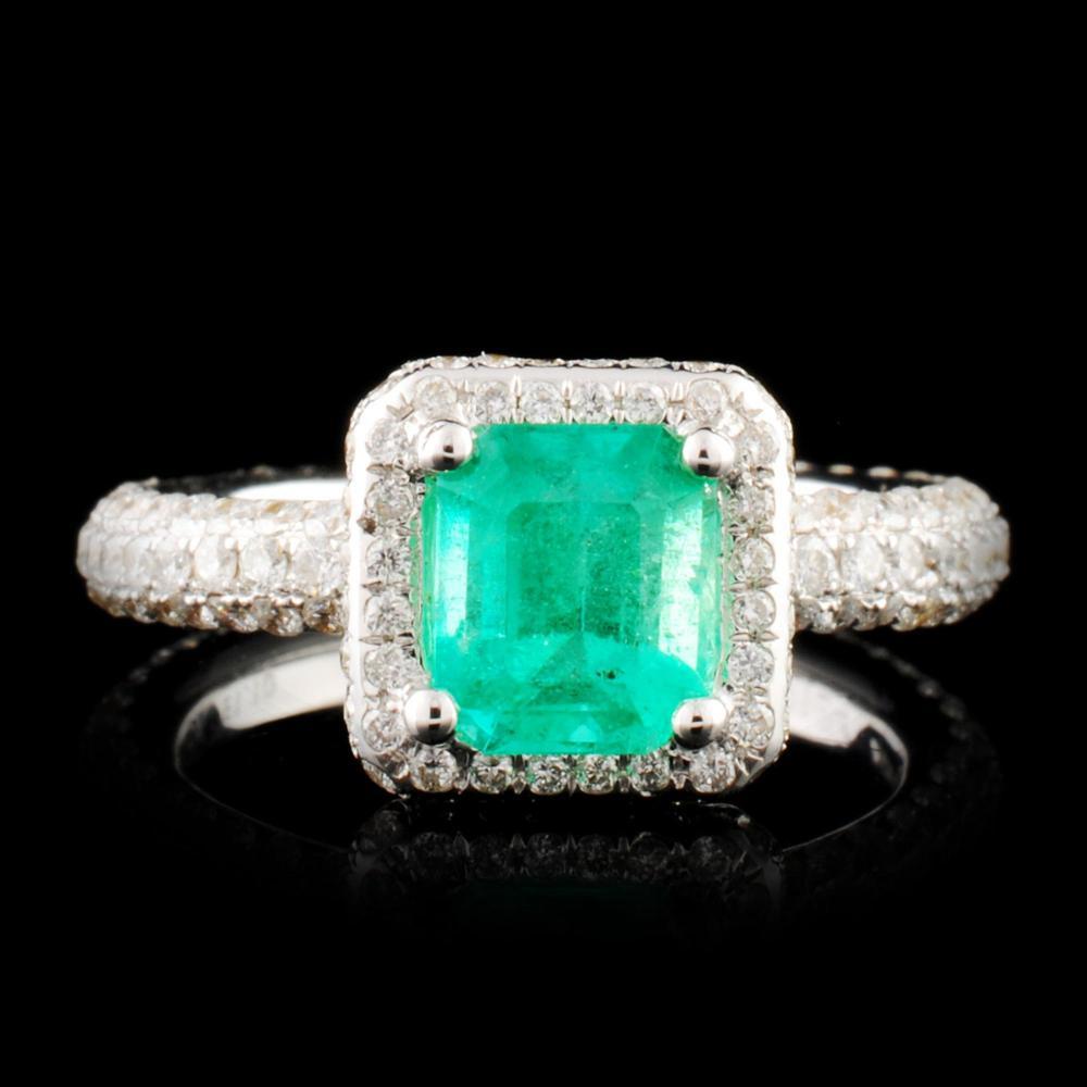 Lot 133: 18K Gold 1.10ct Emerald & 1.24ctw Diamond Ring