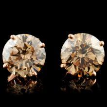Lot 134: 14K Gold 3.81ctw Stud Diamond Earrings