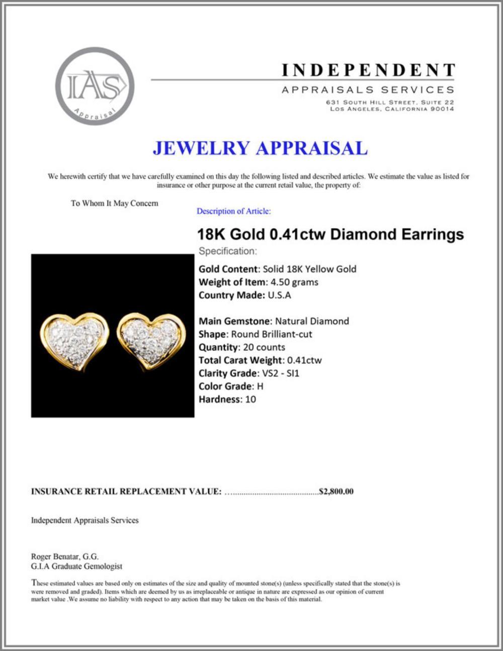 Lot 136: 18K Gold 0.41ctw Diamond Earrings