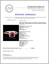 Lot 141: 18K Gold 1.00ct Ruby & 0.35ctw Diamond Ring