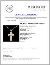 Lot 142: 14K Gold 3.20ctw Diamond Pendant