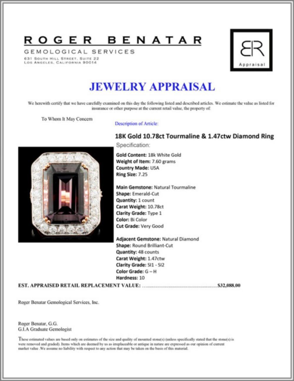 Lot 147: 18K Gold 10.78ct Tourmaline & 1.47ctw Diamond Ring