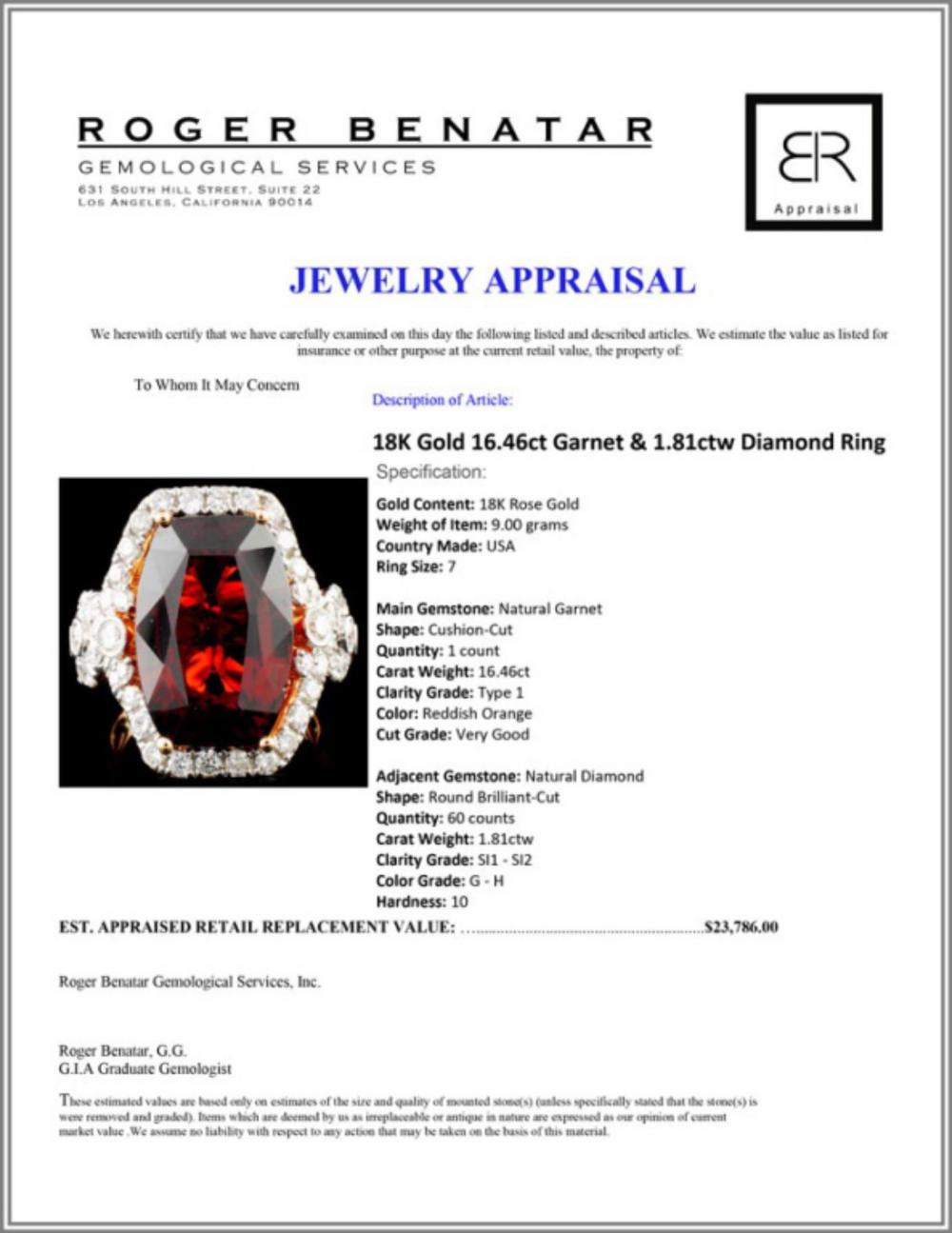 Lot 155: 18K Gold 16.46ct Garnet & 1.81ctw Diamond Ring