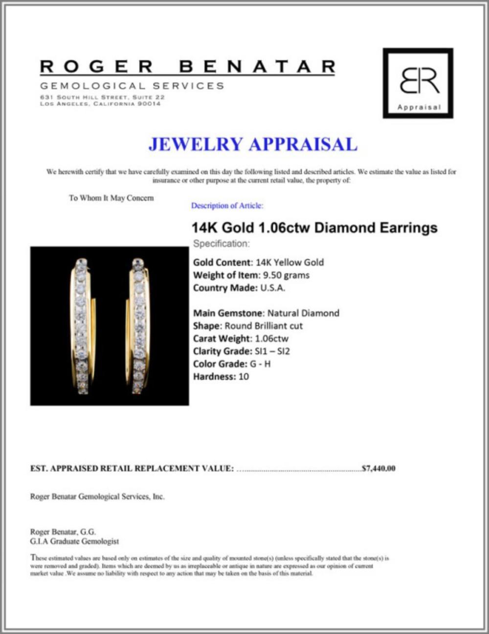 Lot 162: 14K Gold 1.06ctw Diamond Earrings
