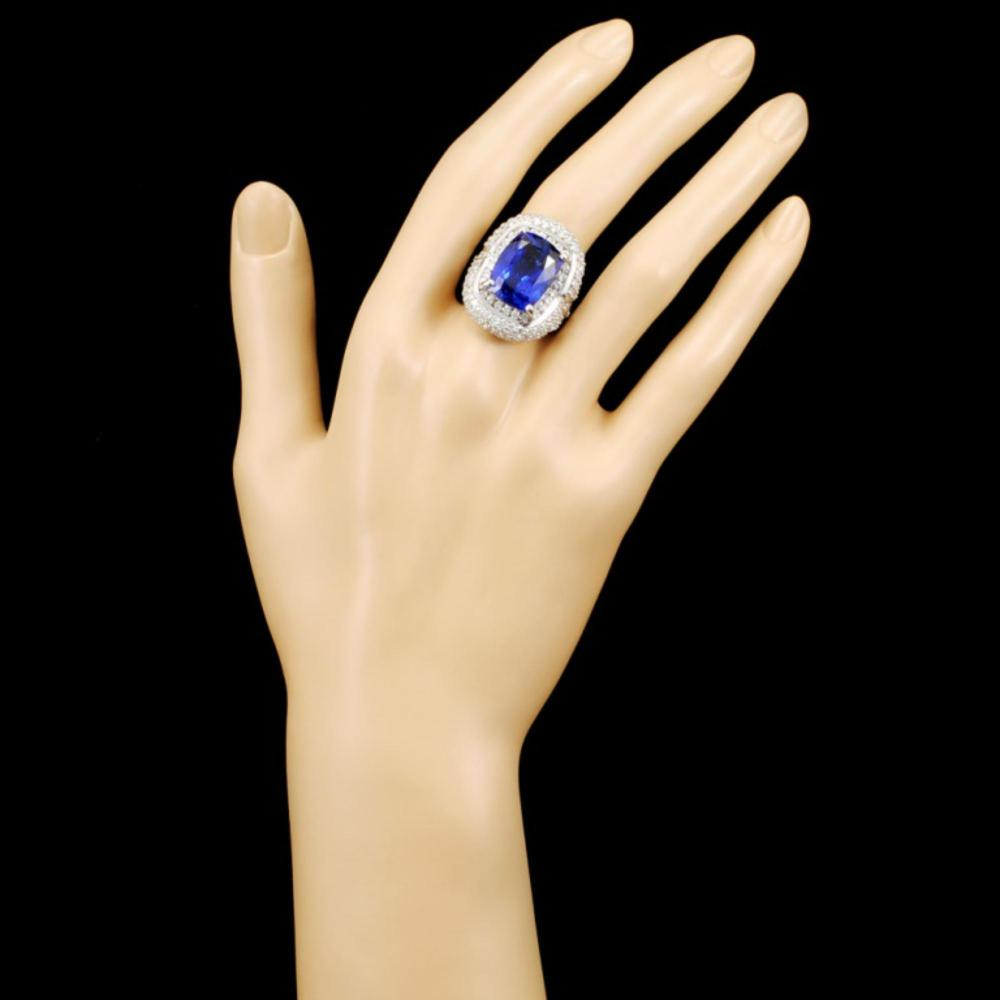 Lot 167: 18K Gold 10.92ct Tanzanite & 3.76ctw Diamond Ring