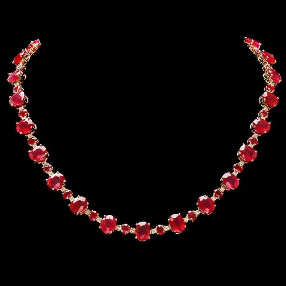 Lot 168: `14k Gold 54.00ct Ruby & 2.00ct Diamond Necklace