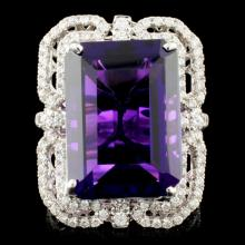 Lot 173: 18K Gold 15.40ct Amethyst & 1.10ctw Diamond Ring