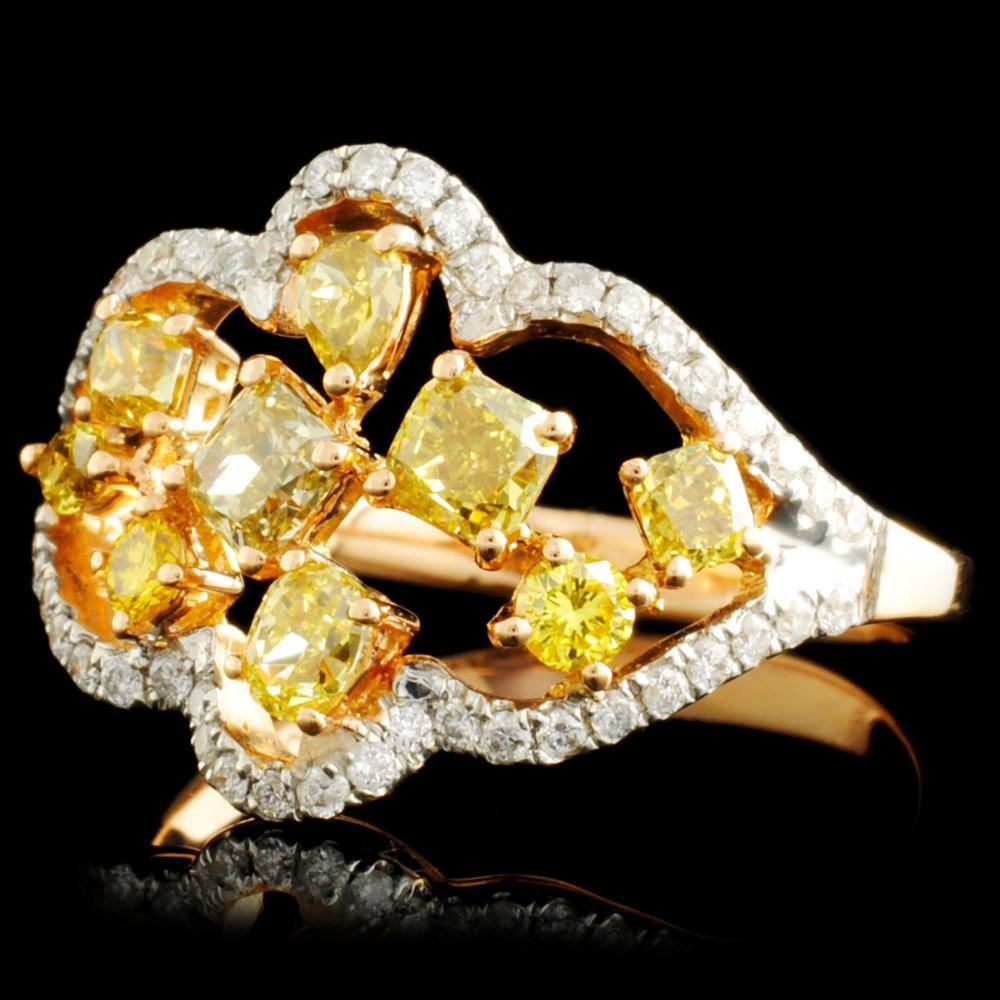 Lot 181: 18K Gold 1.34ctw Fancy Diamond Ring