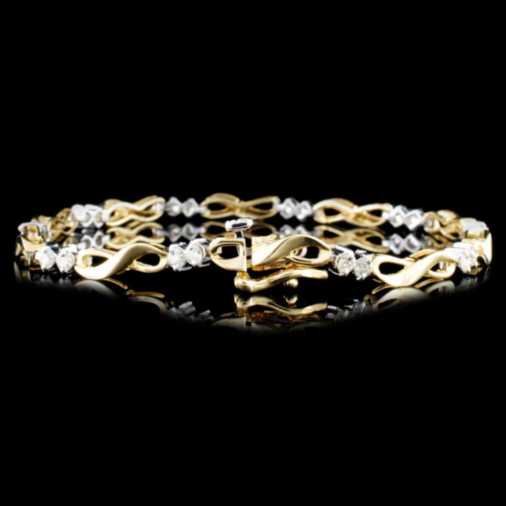 Lot 186: 14K Gold 1.00ctw Diamond Bracelet