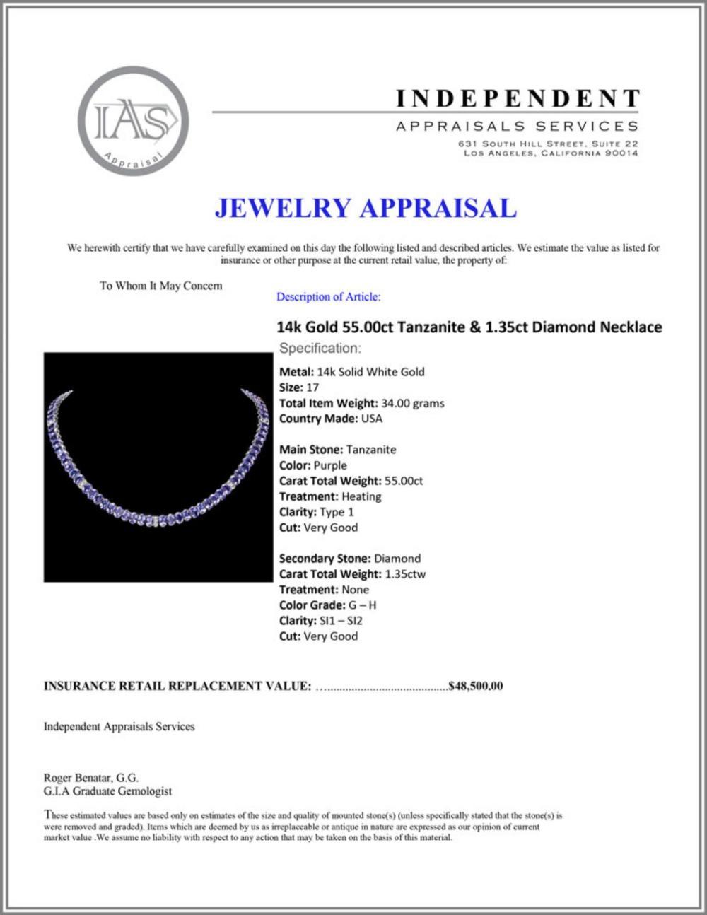 Lot 188: `14k Gold 55.00ct Tanzanite & 1.35ct Diamond Neckl