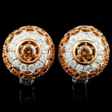 Lot 192: 14K Gold 1.01ctw Diamond Earrings