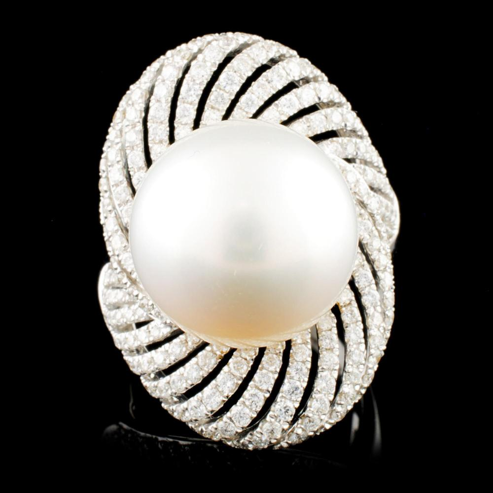 Lot 193: 18K Gold 15.00MM Pearl & 1.41ctw Diamond Ring
