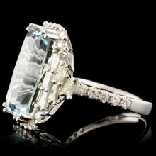 Lot 197: 18K Gold 11.09ct Aquamarine & 1.47ctw Diamond Ring