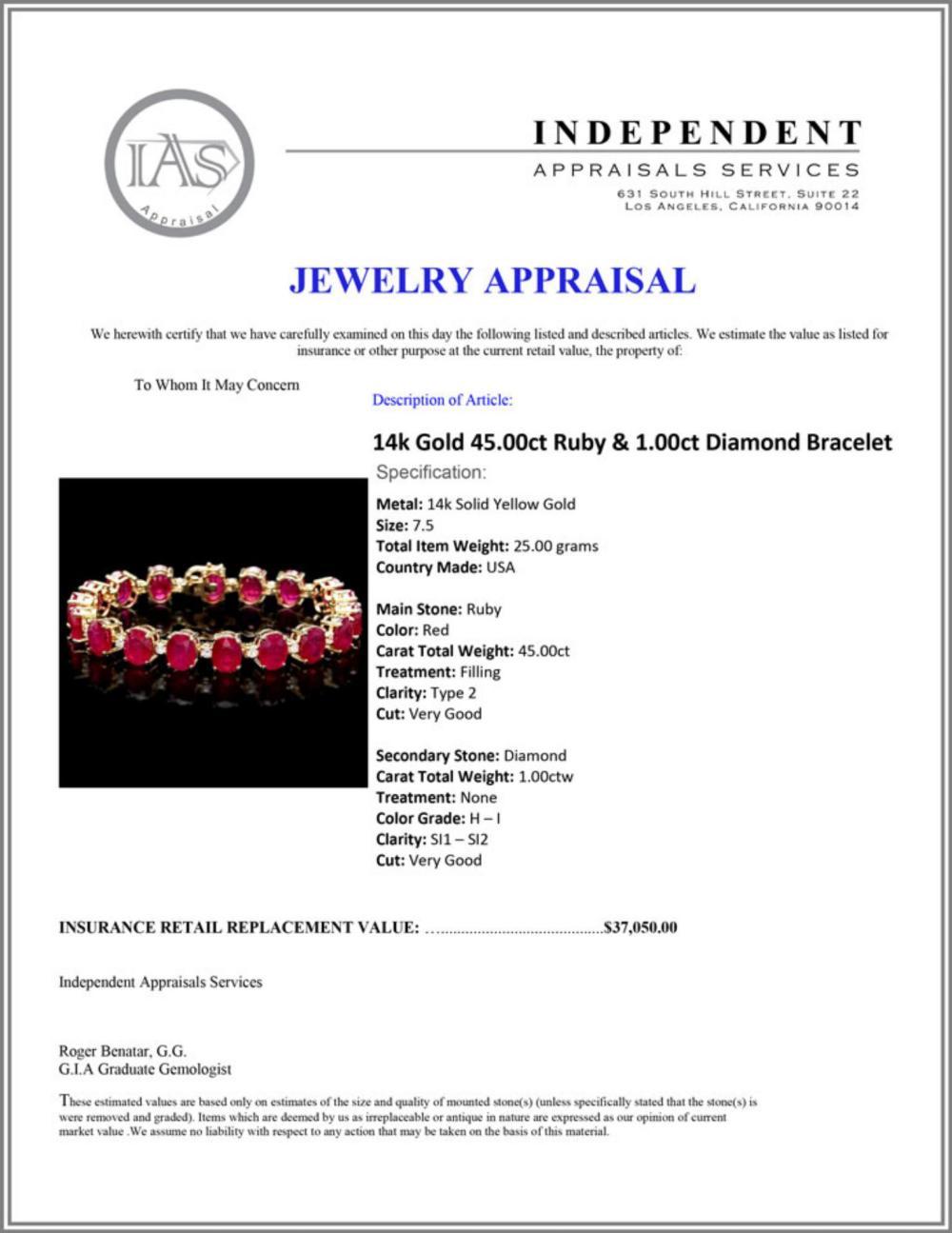 Lot 198: `14k Gold 45.00ct Ruby & 1.00ct Diamond Bracelet