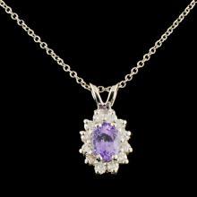14K Gold 0.87ct Sapphire & 0.38ctw Diamond Pendant