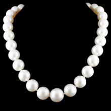 18K Gold 14-16MM Pearl Clasp Necklace